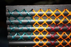 My 2nd Tukutuku Panel - closeup of colours of harakeke